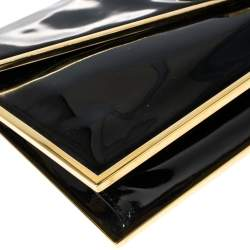 Alexander McQueen Black Patent Leather Envelope Clutch