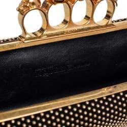 Alexander McQueen Black Suede Studded Skull Knuckle Clutch