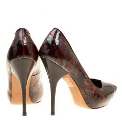 Alexander McQueen Two Tone Brown Tortoise Shell Embossed Patent Leather Pumps Size 37