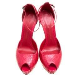 Alexander McQueen Red Python Peep Toe Ankle Strap Platform Sandals Size 40