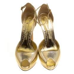 Alexander McQueen Metallic Embossed Python Leather Peep Toe Ankle Strap Platform Sandals Size 40