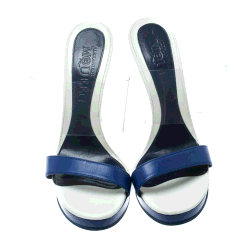 Alexander McQueen Blue Leather and PVC Bold Plexi Heel Open Toe Wedge Sandals Size 40
