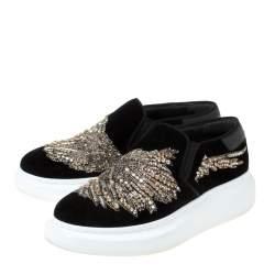 Alexander McQueen Black Crystal Embellished Velvet Slip On Platform Sneakers Size 37.5