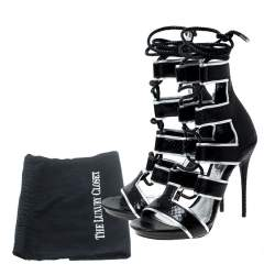 Alexander McQueen Black Python Leather Ankle Wrap Sandals Size 37.5