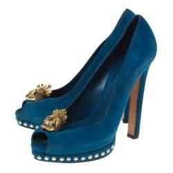 Alexander McQueen Blue Suede Crystal Embellished Skull Peep Toe Platform Pumps Size 39.5