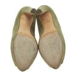 Alexander McQueen Olive Suede Punk Skull Peep Toe Pumps Size 39