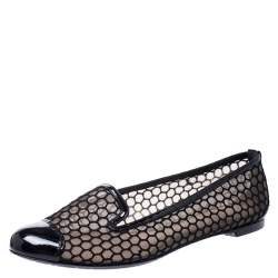 Alexander McQueen Black Patent Leather And Mesh Ballet Flats Size 38