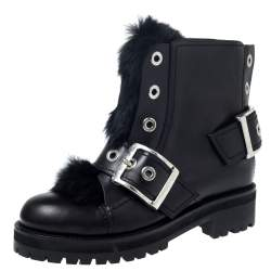 Alexander McQueen Black Leather And Rabbit Fur Eyelet Detail Buckle Ankle Boots Size 40