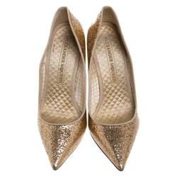Alexander McQueen Gold Patent Glitter Leather Pointed Toe Pumps Size 39.5