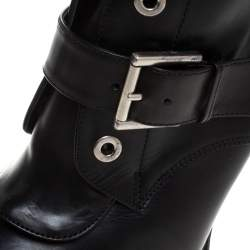 Alexander McQueen Black Leather Buckle Ankle Boots Size 40