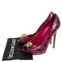 Alexander McQueen Majenta/Black Python Skull Studded Peep Toe Pumps Size 38.5