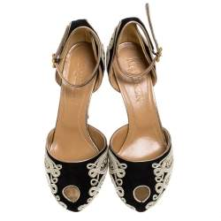 Alexander McQueen Black/Light Gold Cord Embroidered Suede Ankle Strap D'orsay Pumps Size 40