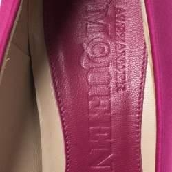 Alexander McQueen Majenta Satin Square Toe Platform Pumps Size 36.5