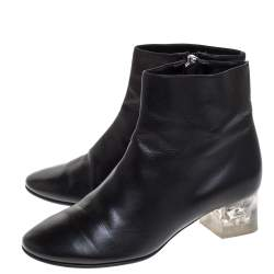 Alexander McQueen Black Leather Skull Ankle Boots Size 36