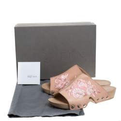 Alexander McQueen Peach Leather Embroidered Wooden Clogs Size 37.5