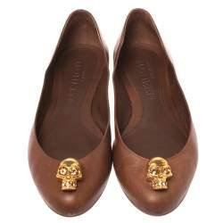 Alexander McQueen Brown Leather Skull Ballet Flats Size 38.5