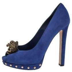 Alexander McQueen Blue Suede Crystal Embellished Skull Peep Toe Platform Pumps Size 38