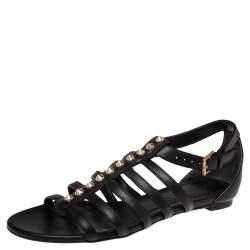 Alexander McQueen Black Leather Spike Detail Flat Gladiator Sandals Size 38