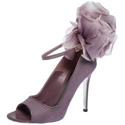 Alexander McQueen Purple Mesh And Patent Leather Trim Floral Embellished Peep-Toe Ankle Strap Pumps Size 38