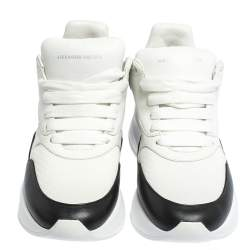 Alexander McQueen White/Black Leather And Mesh Oversized Runner Low Top Sneakers Size 38.5