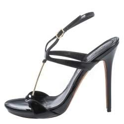 Alexander McQueen Black Patent Leather T-strap Sandals Size 37.5