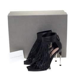 Alexander McQueen Black Leather Fringe Detail Sandals Size 38