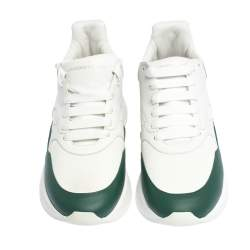 Alexander McQueen White/Green Leather and Nylon Larry Low Top Sneakers Size 44