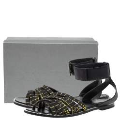 McQ by Alexander McQueen Croc Embossed Leather Erin Ankle Strap Flat Sandals Size 41
