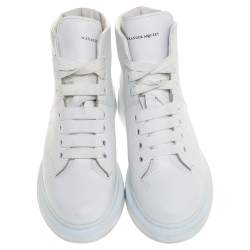 Alexander McQueen White Leather High Top Sneakers Size 39.5