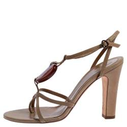 Alexander McQueen Beige Leather Heart T Strap Sandals Size 38.5