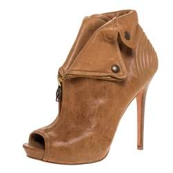 Alexander McQueen Brown Leather Faithful Open Toe Ankle Booties Size 41