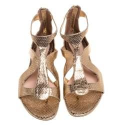 Alexander McQueen Gold Python Embossed Leather Cutout Flat Sandals Size 40