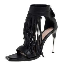 Alexander McQueen Black Leather Fringe Detail Sandals Size 38.5