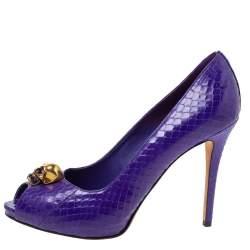 Alexander McQueen Purple Python Skull Peep Toe Pumps Size 40