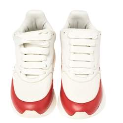 Alexander McQueen White/Red Leather and Fabric Oversized Runner Low Top Sneakers Size 35