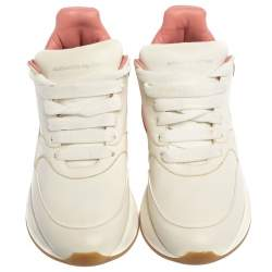 Alexander McQueen White/Pink Leather Oversized Runner Low Top Sneakers Size 39