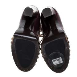Alexander McQueen Maroon Leather Hobnail Platform Ankle Booties Size 37