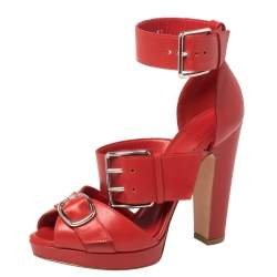 Alexander McQueen Red Leather Buckle Strappy Platform Sandals Size 37.5