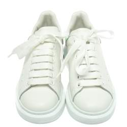 Alexander McQueen White Leather Larry Low Top Sneakers Size 36.5