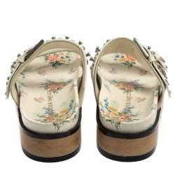 Alexander McQueen White Leather Studded Platform Sandals Size 40