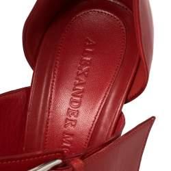 Alexander McQueen  Red Leather Buckle Strappy Platform Sandals Size 38.5