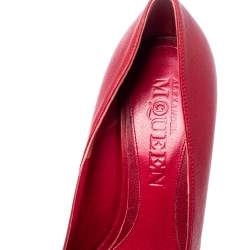 Alexander McQueen Red Leather Skull Pumps Size 37