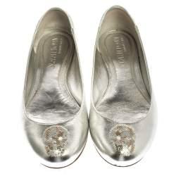 Alexander McQueen Silver Sequin Skull Ballet Flats Size 40