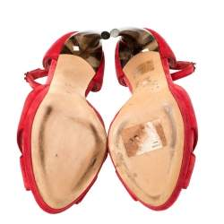 Alexander McQueen Red Velvet Horn Heel Ankle Strap Platform Sandals Size 36