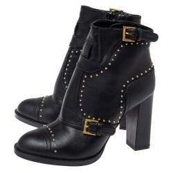 Alexander McQueen Black Leather Studded Block Heel Ankle Boots Size 36