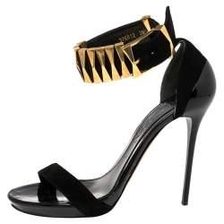 Alexander McQueen Black Suede Metal Ankle Strap Sandals Size 38.5