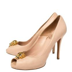 Alexander McQueen Dusty Pink Leather Crystal Embellished Skull Peep Toe Pumps Size 36.5