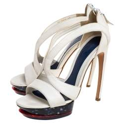 Alexander McQueen White Leather Double Arched Platform Sandals Size 37