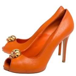 Alexander McQueen Orange Leather Skull Peep Toe Pumps Size 37.5