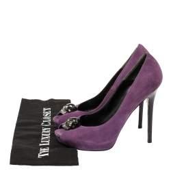 Alexander McQueen Purple Suede Skull Peep Toe Pumps Size 38